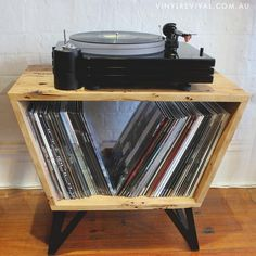 Hi, I'm Hayden and I'm a woodworker living and working in the West of Melbourne. Bored of the very limited range of storage options for my vinyl, I put my thinking cap on and came up with The Turntable Stand(ard). Made by hand using recycled hardwoods tak Record Table, Record Player Cabinet, Record Player Console, Record Stand, Vinyl Record Storage, Diy Vinyl Storage, Vinyl Record Holder, Vinyl Record Player, My New Room