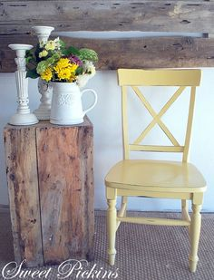 yellow painted chair: white raisen by sherwin williams