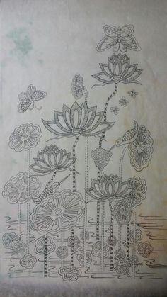 어수선한 주변 정리 끝내고 몇주만에 블러그에 입성한다. 바쁜 틈틈히 그려온 연화도. 모던 민화는 ... Indian Embroidery Designs, Couture Embroidery, Creative Embroidery, Hand Embroidery Patterns, Machine Embroidery Designs, Embroidery Stitches, Android Wallpaper Colour, Korean Crafts, Floral Drawing