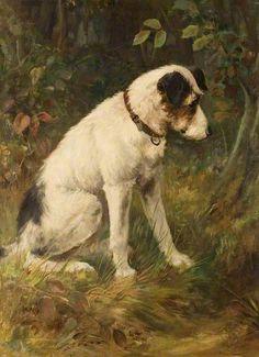 Terrier Watching a Rabbit Warren, attributed to Arthur Wardle