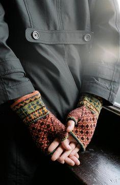 Latvian Fingerless Mitts--by Veronik Avery