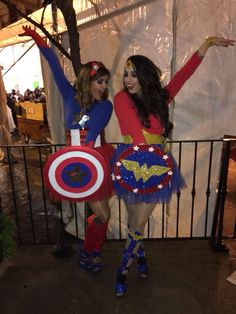 Fancy dress captain american and wonder woman