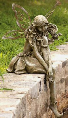 Thoughtful Lady Fairy Statue By Evergreen