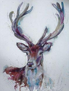 Nicola Jane Rowles Art - Stag Watercolors, Moose Art, Inspire, Animals, Inspiration, Toile, Watercolour, Biblical Inspiration, Water Colors