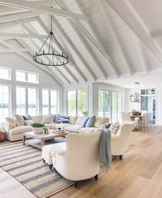 Gorgeous White Living Room Color Scheme That Will Amaze You – Home and Apartment Ideas Cottage Living Rooms, Coastal Living Rooms, Living Room Furniture, Living Room Decor, Coastal Cottage, Dining Room, Coastal Decor, Coastal Interior, Cozy Living