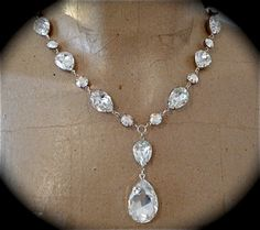 Crystal Bridal Teardrop Y  Necklace