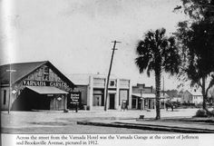 "https://flic.kr/p/b7vZY4 | Brooksville | Corner of Jefferson St. and Brooksville Ave. This photo is taken from Images of America: Brooksville by Robert G. Martinez. In Old Brooksville in Photos and Stories the caption is: ""Taken about 1914, the Varnada Garage would later become the location for Ford dealerships until 1974. Next to that is the Star Theatre, one of Brooksville's earliest movie houses."" (h200)"