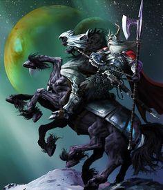 Odin rides Sleipner into battle Rune Viking, Viking Warrior, Viking Art, Thor, Marvel Comics, Odin Comics, Statues, Les Runes, Symbole Viking