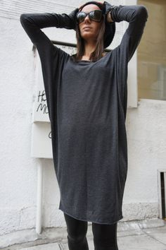 Sexy Casual Top / Grey Soft Fabric / Loose Tunic A01060 by Aakasha