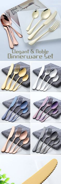 US$8.35 -- 4 Pcs/Set Dinnerware Set 304 Titanium Stainless Steel Western Cutlery Set Kitchen Food Tableware#newchic#kitchen#home#party