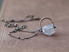 Calcédoine bleue sur Sterling collier  chaîne par SDMarieJewelry