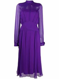 N21, Plum Purple, Silk Ties, Mock Neck, Dress Making, Designer Dresses, Women Wear, Dresses With Sleeves, Long Sleeve