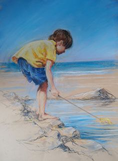 Soft pastel video workshop: Child on a Beach by Rebecca de Mendonca at ArtTutor.com