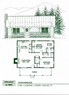 Appalachian Log & Timber Homes Chickamauga Log Cabin, Hybrid Home Floor Plan