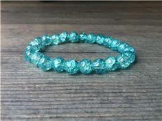 Armband met crackle kralen (turquoise)