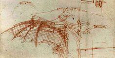 Leonardo Da Vinci Drawings Flying Machines Leonardo's wing design for a