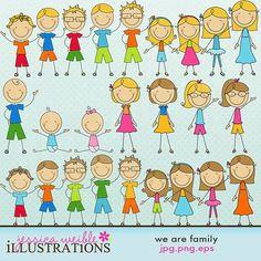 We Are Family Stick Figures Cute Digital Clipart for Card Design, Scrapbooking, and Web Design