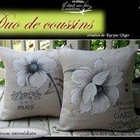Duo de coussins Diy Cushion Covers, Pillow Cover Design, Diy Pillows, Decorative Pillows, Cushions, Throw Pillows, Fabric Paint Designs, Silk Art, Hand Embroidery Stitches