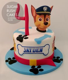 Paw Patrol Chase Cake Ref Read more  Paw Patrol Chase Cake, Los Paw Patrol, Custom Birthday Cakes, Cool Birthday Cakes, Twin Birthday, Bear Birthday, Sugar Rush, Cake 5 Years Old, Paw Patrol Party Decorations