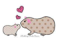 Mutterliebe ♥ Meerschweinchen mit Kind Doodle Stickdatei. Mother love ♥ Doodle guinea pigs appliqué embroidery design for embroidery machines.
