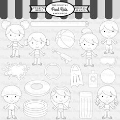 Pool Kids Stamps - 19 adorable graphics for your crafting needs. Matching clipart, frames and papers also available.
