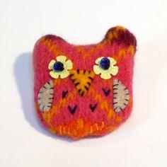 Pink & Orange Owl Brooch on Folksy
