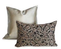 Contemporary Taupe Black Pillow 12x18 Lumbar  by PillowThrowDecor, $32.00