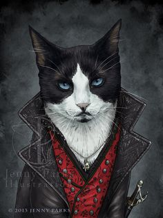 """""""Captain Hook"""" by Jenny Parks Chat Royal, Vintage Cat, Cool Cats, Captain Hook, Cat People, Quatro Patas, All About Cats, Cat Drawing, Pretty Cats"""