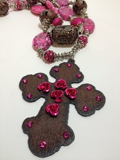 Chunky  Necklace Hot Pink Rustic Cross by CowgirlInspiration, $56.00
