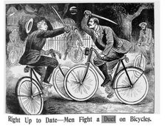 """""""Right up to date- men fight a duel on bicycles,"""" from the Illustrated Police News (date unknown)"""
