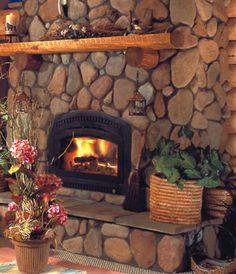 8 Warm, Cozy Stone Fireplace Surrounds: River Rock Stone Fireplace Surrounds
