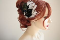 Feather hairpiece in black and white with crystals - Victorian Peacock. $69.00