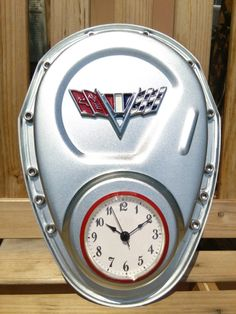 Check out this item in my Etsy shop https://www.etsy.com/listing/235393077/impala-corvette-timing-cover-clock Car parts man cave automotive decor gear head impala corvette