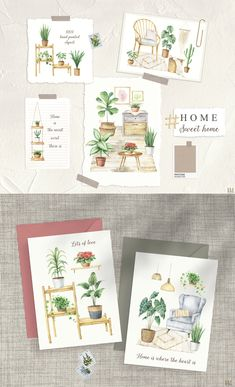 Watercolor Illustration, Floral Watercolor, Wedding Invitation Inspiration, Aesthetic Room Decor, Design Web, Botanical Prints, Cozy House, Boho Decor, House Plants