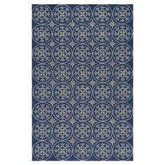 Hand-hooked indoor/outdoor rug with a medallion motif.  Product: RugConstruction Material: 100% PolypropyleneColor: BlueFeatures:  HookedHandmadeElegant traditional design Note: Please be aware that actual colors may vary from those shown on your screen. Accent rugs may also not show the entire pattern that the corresponding area rugs have.
