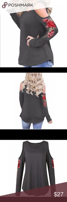 Cold shoulder top NWOT Olive green cold shoulder top with floral appliqué. Super cute with jeans measurements are.  Bust 22 length 24 Tops Blouses
