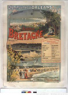 Chemins de fer d'Orléans. Plages de Bretagne : [affiche] / G. Fraipont ; F & M Moreau, 95 rue de Vaugirard, Paris