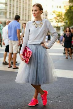 a tutu with neon sneakers? my kinda outfit; why dont i have fabulous knee  length tutus in every color?