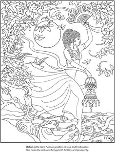 Oshun West African Goddess of Love & Fresh Water Goddesses Coloring pages: Dover Publications Sample