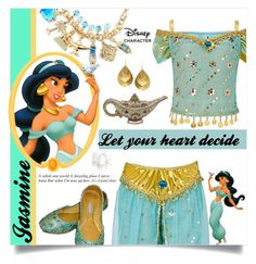 """Jasmine Halloween costume"" by ambacasa ❤ liked on Polyvore featuring Disney, Kevia, Judith Leiber, Halloween, 60secondstyle and disneycharactercostume"