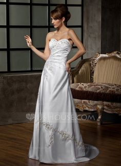 Wedding Dresses - $252.99 - A-Line/Princess Sweetheart Court Train Satin Wedding Dress With Embroidered Ruffle Beading Sequins (002011510) http://jjshouse.com/A-Line-Princess-Sweetheart-Court-Train-Satin-Wedding-Dress-With-Embroidered-Ruffle-Beading-Sequins-002011510-g11510