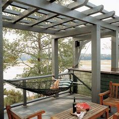patio pergola with hammock @Andrew Mager Gault