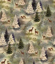 Maker's Holiday Cotton Fabric - Vintage Forest - Fabric - Holiday Fabric - Christmas at JOANN Mini Christmas Tree, Christmas Fabric, Christmas Pictures, Christmas Ideas, Christmas Printables, Merry Christmas, Cabin Christmas, Christmas Villages, Christmas 2014