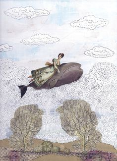to swim with a great whale, or in this odd case fly, such a dream: Art Print… Illustration Arte, Illustrations, Great Whale, Cute Whales, Whale Art, Sea Art, Medium Art, Collage Art, Collages