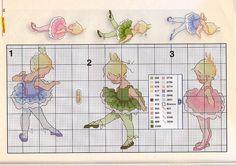 Lindos gráficos de bailarinas em ponto cruz para bordar.