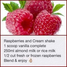 Raspberries and cream Rice Milk, Raspberries, Almond Milk, Vanilla, Frozen, Fresh, Food, Raspberry, Meals