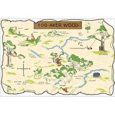 Buy your Pooh & Friends 100 Aker Wood Peel & Stick Map here. Everyone's favorite bear, Winnie the Pooh, can now be a part of your child's real world. The 100 Aker Wood Peel & Stick Map will b Stickers Winnie, Wall Decor Stickers, Winnie The Pooh Nursery, Disney Winnie The Pooh, Vintage Winnie The Pooh, 100 Acre Wood, Online Nursery, Hundred Acre Woods, Brochures
