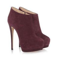 Suede ankle bootie with inner platform discovers new charm in trendy purple by Giuseppe Zanotti