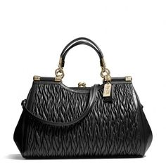 Coach Madison Carrie In Gathered Twist Leather found on Polyvore featuring polyvore, women's fashion, bags, handbags, coach, kisslock purse, cell phone purse, leather handbags, pocket purse and coach bags