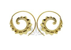 Lotus spiral earrings Tribal jewelry Carved earrings by NELAJAPAN